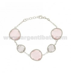 ROLO BRACELET &395 SASSI LILAC PEARL AND PINK PEARL 29P 11P IN RHODIUM AG TIT 925