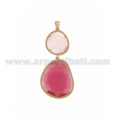 DOUBLE STONE PENDANT WITH STONE HYDROTHERMAL PINK PEARL PINK PEARL 16P 16P RED ROSE GOLD PLATED IN AG TIT 925