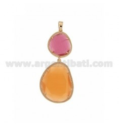 DOUBLE STONE PENDANT WITH STONE HYDROTHERMAL RED AND ORANGE PEARL PINK PEARL 16P 6P AG IN ROSE GOLD PLATED TIT 925