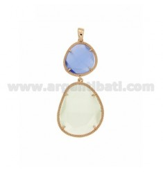 DOUBLE STONE PENDANT WITH STONE HYDROTHERMAL PINK SUGAR PAPER IN AG 8P 28P PEARL WHITE ROSE GOLD PLATED TIT 925