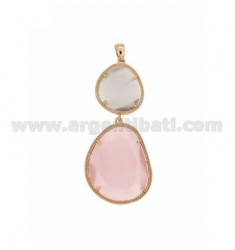 DOUBLE STONE PENDANT WITH STONE HYDROTHERMAL LILAC PINK PEARL PEARL 29P AND 11P IN ROSE GOLD PLATED AG TIT 925