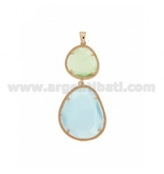 DOUBLE STONE PENDANT WITH STONE HYDROTHERMAL GREEN PASTEL BLUE PEARL PEARL 4P 4P IN ROSE GOLD PLATED AG TIT 925