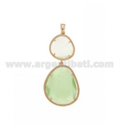 DOUBLE STONE PENDANT WITH STONE HYDROTHERMAL PEARL WHITE AND GREEN PASTEL PEARL 4P 8P AG IN ROSE GOLD PLATED TIT 925
