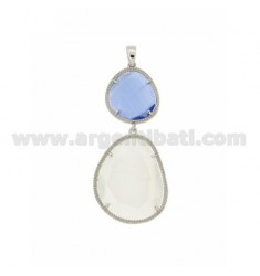 DOUBLE STONE PENDANT WITH STONE HYDROTHERMAL PINK SUGAR PAPER IN AG 8P 28P PEARL WHITE RHODIUM TIT 925