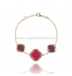 BRACELET WITH ROLO CHAIN AND FLOWERS IN PURPLE AND RED FUCHSIA TRANSPARENT 13-16-13 HYDROTHERMAL STONES IN AG ROSE GOLD PLATED T