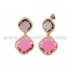 DOUBLE FLOWER EARRING SMALL BIG RED PINK PURPLE CLEAR 16 16 AG IN ROSE GOLD PLATED 925 TIT AND STONES HYDROTHERMAL