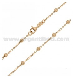 LACE CHAIN AND BALL 4 MM ALTERNATE IN SILVER PLATED ROSE GOLD TIT 925 ‰ CM 60