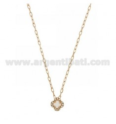 CHAIN &8203&8203CABLE 45 CM WITH WHITE FLOWER WITH STONE HYDROTHERMAL 33 EDGE zirconate IN ROSE GOLD PLATED AG