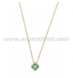 CABLE CHAIN CM 45 WITH FLOWER WITH HYDROTHERMAL STONE GREEN EMERALD 40 AND ZIRCONATED EDGE IN AG ROSE GOLD PLATED