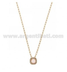 CABLE CHAIN 45 CM WITH SQUARE PENDANT WITH PINK 11 HYDROTHERMAL STONE AND ZIRCONATED EDGE IN AG ROSE GOLD PLATED