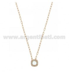 CABLE CHAIN CM 45 WITH SQUARE PENDANT WITH HEAVENLY 2 HYDROTHERMAL STONE AND ZIRCONATED EDGE IN AG ROSE GOLD PLATED