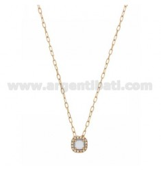 CABLE CHAIN 45 CM WITH SQUARE PENDANT WITH HYDROTHERMAL STONE 28 SUGAR PAPER AND ZIRCONATED EDGE IN AG ROSE GOLD PLATED