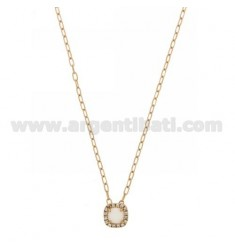 CABLE CHAIN 45 CM WITH SQUARE PENDANT WITH WHITE HYDROTHERMAL STONE 33 AND ZIRCONATED EDGE IN AG ROSE GOLD PLATED