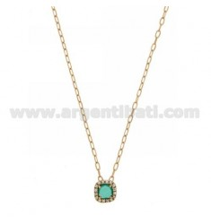CABLE CHAIN CM 45 WITH SQUARE PENDANT WITH HYDROTHERMAL STONE GREEN EMERALD 40 AND ZIRCONATED EDGE IN AG ROSE GOLD PLATED