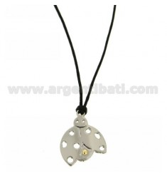 LADYBIRD CHARM 22x20 MM STEEL WITH POINT Bilamina BRASS AND GOLD SILK WITH NECKSTRAP CERATA