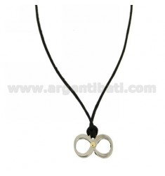 INFINITY PENDANT SMALL 11x18 MM STEEL WITH POINT Bilamina BRASS AND GOLD SILK WITH NECKSTRAP CERATA