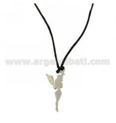 31X14 MM FAIRY PENDANT STEEL WITH POINT Bilamina BRASS AND GOLD SILK WITH NECKSTRAP CERATA