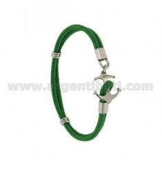 GREEN ROPE BRACELET WITH CLOSURE IN THE FORM OF A STEEL ANCHOR