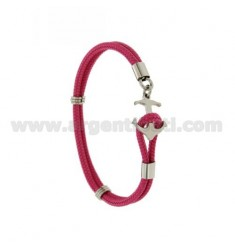 ROPE BRACELET PINK WITH CLOSURE IN THE FORM OF A STEEL ANCHOR
