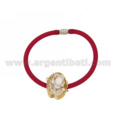 FUCHSIA RUBBER BRACELET WITH METAL MAGNET CLOSURE AND CENTRAL CAMEO 27 MM WITH AG TIT 925 FRAME