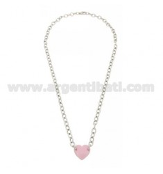 COLLIER CABLE WITH CENTRAL HEART 13x14 MM WITH PINK NAIL POLISH IN RHODIUM AG TIT 925 CM 42