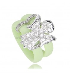 RING IN LIGHT GREEN RUBBER WITH ANGIOLETTO WITH ZIRCONIA PAVE IN RHODIUM-PLATED SILVER TIT 925