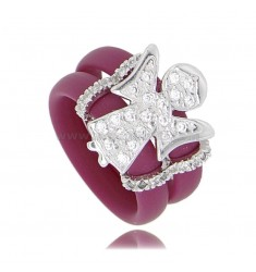 RING IN VINACCIA RUBBER WITH ANGIOLETTO WITH ZIRCONIA PAVE IN RHODIUM-PLATED SILVER TIT 925