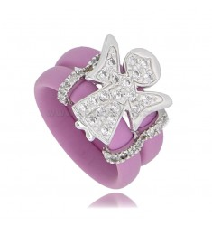 RING IN FUCHSIA RUBBER WITH ANGIOLETTO WITH ZIRCONIA PAVE IN RHODIUM-PLATED SILVER TIT 925