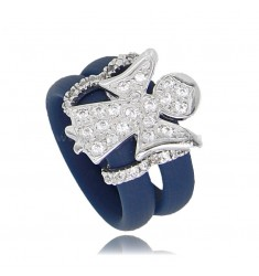 RING IN BLUE RUBBER WITH ANGIOLETTO WITH ZIRCONIA PAVE IN RHODIUM-PLATED SILVER TIT 925