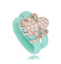 RING IN GREEN RUBBER TIFFANY WITH BABY WITH PAVE OF ZIRCONIA IN SILVER PLATED ROSE GOLD TIT 925
