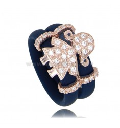 RING IN BLUE RUBBER WITH BABY WITH PAVE OF ZIRCONIA IN SILVER PLATED ROSE GOLD TIT 925
