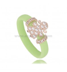 RING IN GREEN LIGHT RUBBER WITH GIRL WITH PAVE OF ZIRCONIA IN SILVER PLATED ROSE GOLD TIT 925