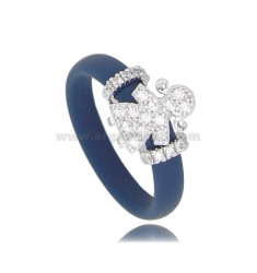 RING IN BLUE RUBBER WITH GIRL WITH ZIRCONIA PAVE IN RHODIUM-PLATED SILVER TIT 925
