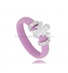 RING IN FUCHSIA RUBBER WITH ANGIOLETTO AND LATERAL BRIDGES WITH ZIRCONIA PAVE IN RHODIUM-PLATED SILVER TIT 925