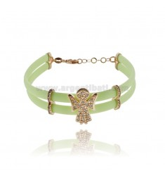 LIGHT GREEN RUBBER BRACELET WITH ANGIOLETTO WITH ZIRCONIA PAVE AND CLOSURE IN SILVER PLATED ROSE GOLD TIT 925 CM 17 EXTENDABLE T