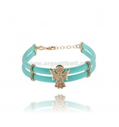 TIFFANY GREEN RUBBER BRACELET WITH ANGIOLETTO WITH ZIRCONIA PAVE AND CLOSURE IN ROSE GOLD PLATED SILVER TIT 925 CM 17 EXTENDABLE