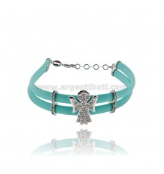 TIFFANY GREEN RUBBER BRACELET WITH ANGIOLETTO WITH ZIRCONIA PAVE AND CLOSURE IN RHODIUM-PLATED SILVER TIT 925 CM 17 EXTENDABLE T