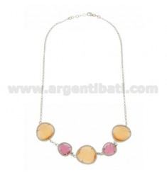 COLLIER ROLO '5 STONES RED FUCHSIA PEARL 16P AND ORANGE PEARL 6P IN AG RHODIUM TIT 925 ‰ CM 43 EXTENDABLE TO 45