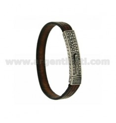 LEATHER BRACELET WITH PLATE WITH SENTENCE POPE JOHN PAUL II AND CLOSING IN TAKE ... AG BRUNITO TIT 925