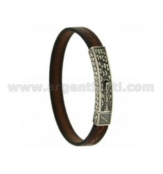 LEATHER BRACELET WITH PLATE WITH SENTENCE FRANCIS POPE, DO NOT MAKE YOU ... AND CLOSING IN AG BRUNITO TIT 925 ‰