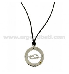 KNOT PENDANT MARINARO TRAFORATO IN CIRCLE 23 MM STEEL WITH POINT Bilamina BRASS AND GOLD WITH LACE SILK CERATA