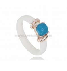 RING IN WHITE RUBBER WITH APPLICATION IN AG ROSE GOLD PLATED TIT 925 ‰, ZIRCONIA AND HYDROTHERMAL STONES, ASSORTED COLORS
