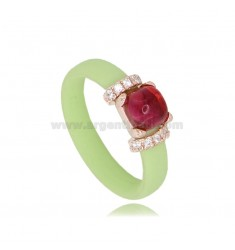 PASTEL GREEN RUBBER RING MIT ANWENDUNG IN AG ROSE GOLD PLATED TIT 925 ‰, ZIRCONIA UND HYDROTHERMAL STONES SORTIERTE FARBEN