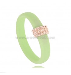 PASTEL GREEN RUBBER RING WITH CENTRAL A MICRO BALLS IN AG ROSE GOLD PLATED TIT 925