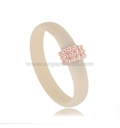 RING IN IVORY RUBBER WITH CENTRAL WITH MICRO SPHERES IN AG ROSE GOLD PLATED TIT 925