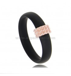 RING IN BLACK RUBBER WITH CENTRAL WITH MICRO BALLS IN AG ROSE GOLD PLATED TIT 925