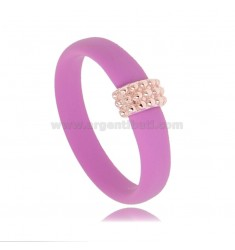 RING IN FUCHSIA RUBBER WITH CENTRAL WITH MICRO BALLS IN AG ROSE GOLD PLATED TIT 925