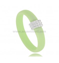 PASTEL GREEN RUBBER RING WITH CENTRAL MICRO BALLS IN AG RHODIUM TIT 925