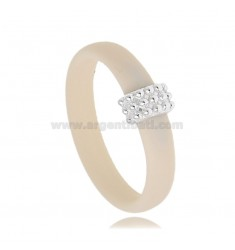 RING IN IVORY RUBBER WITH CENTRAL WITH MICRO BALLS IN AG RHODIUM-PLATED TIT 925