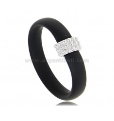 RING IN BLACK RUBBER WITH CENTRAL WITH MICROSPHERES IN AG RHODIUM-PLATED TIT 925